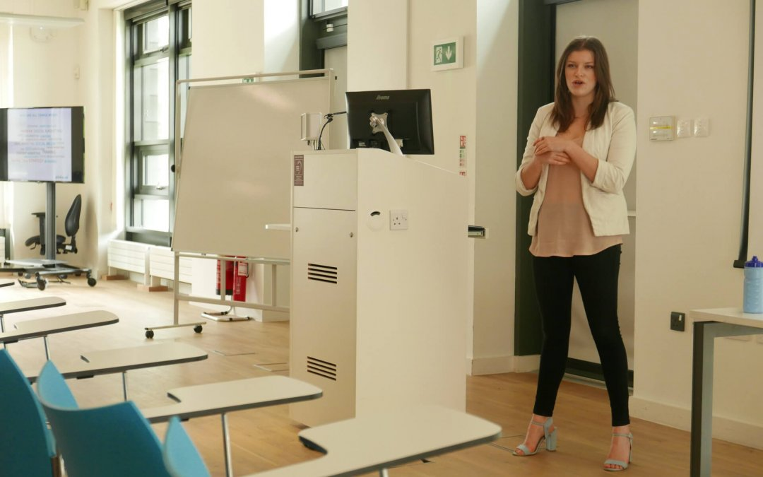 Jess Lawrence, Client delivery manager at All Things Web speaking at Bath Spa University