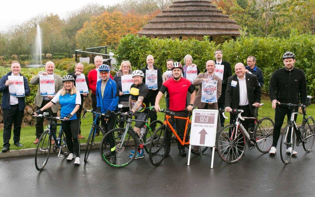 Charity bike ride team