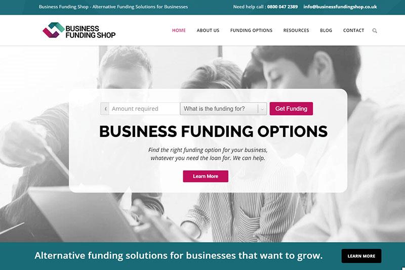 Business funding shop website screengrab