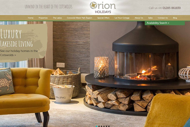 Orion holidays website screengrab