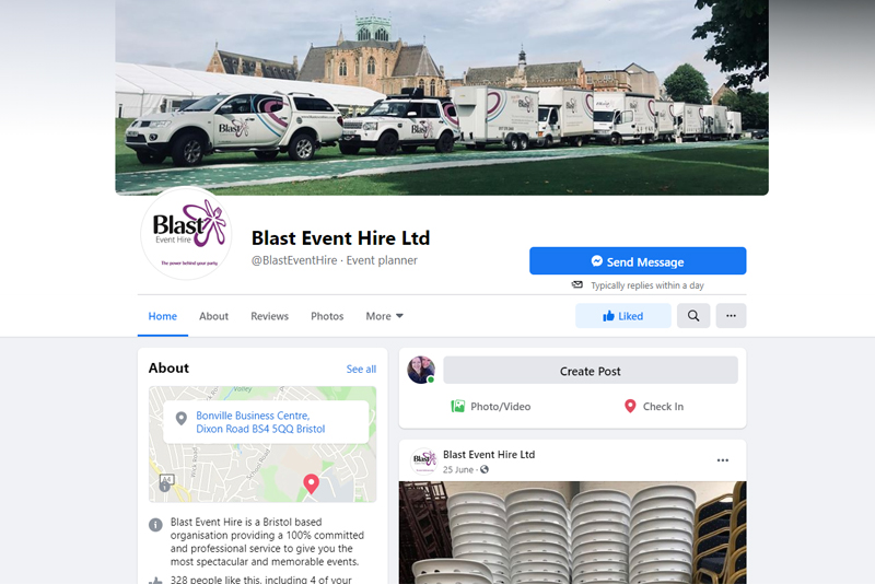 Blast Event Hire Facebook Page