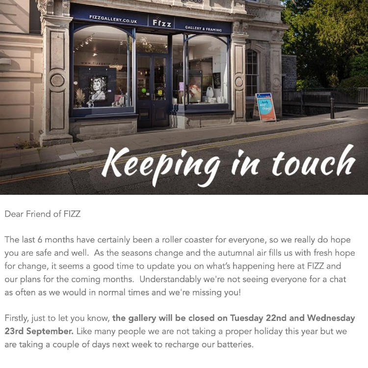 Fizz Gallery example of newsletter