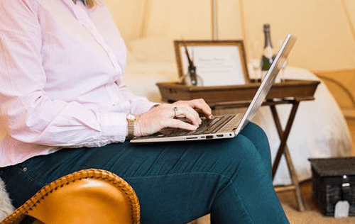 Blogging on a laptop