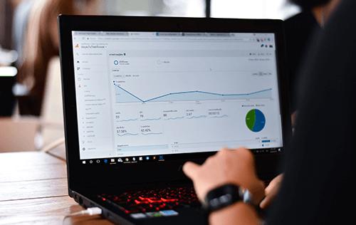 Google Analytics interface on a laptop