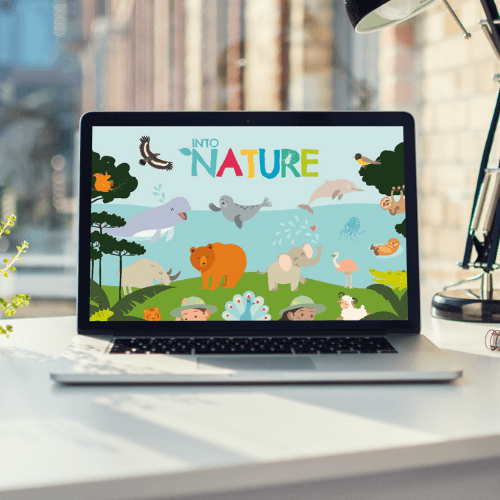 into Nature logo and background