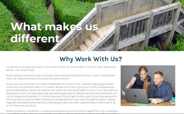 why work iwth us page on Sense Risk Solutions Website