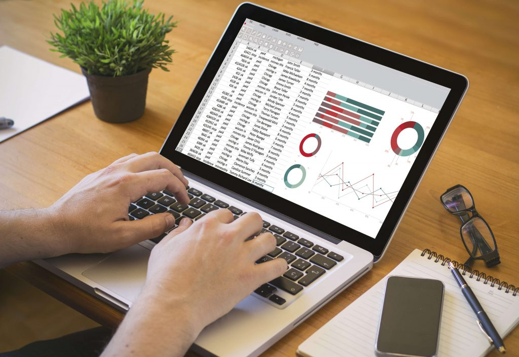desktop with spreadsheet